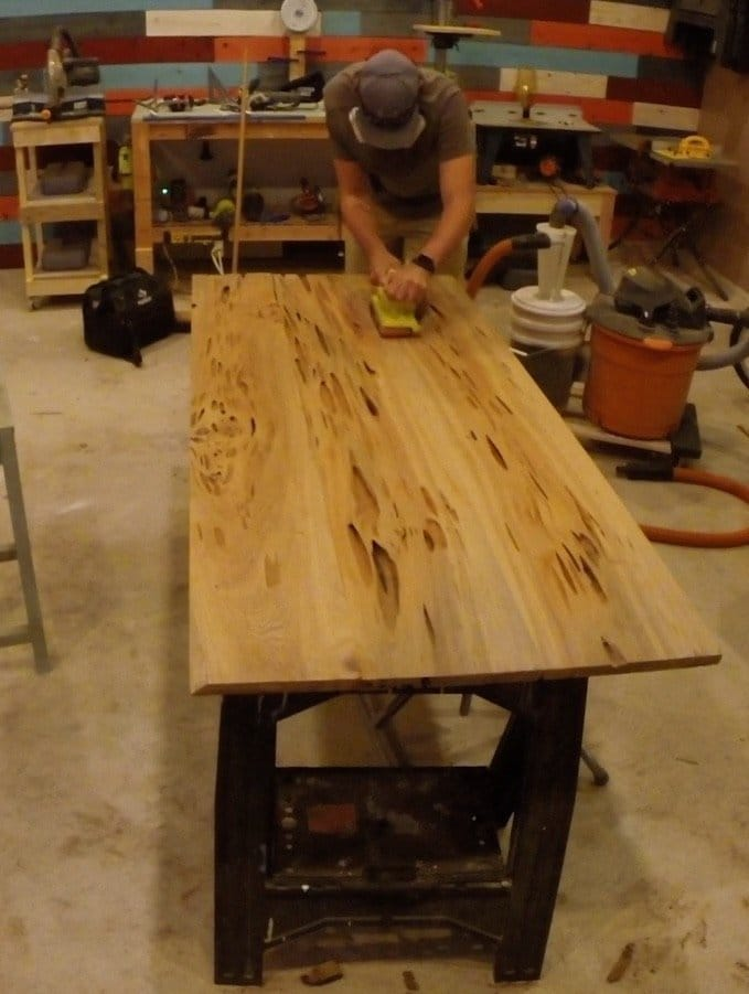 belt sander remove wood filler