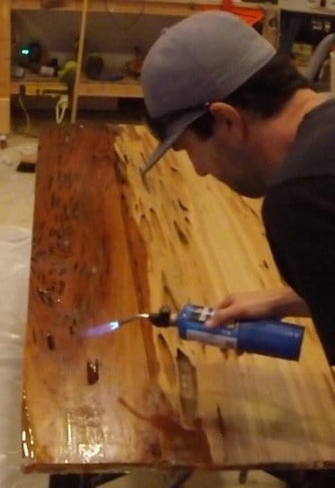 remove epoxy air pockets with torch
