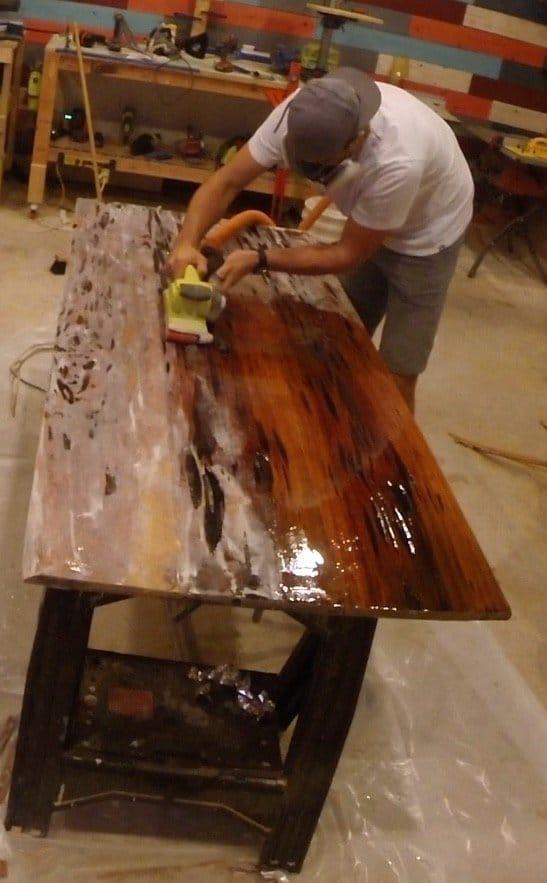 epoxy table belt sander