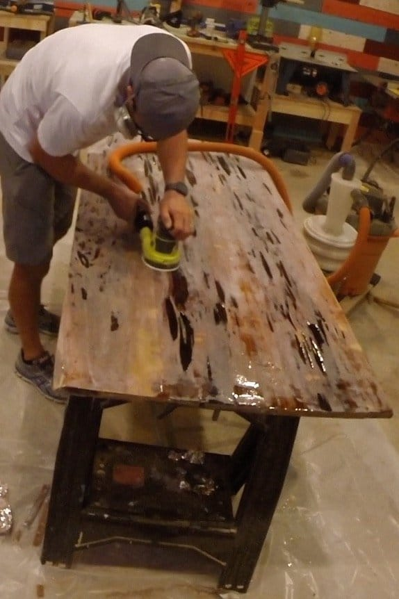epoxy resin dining table sanding