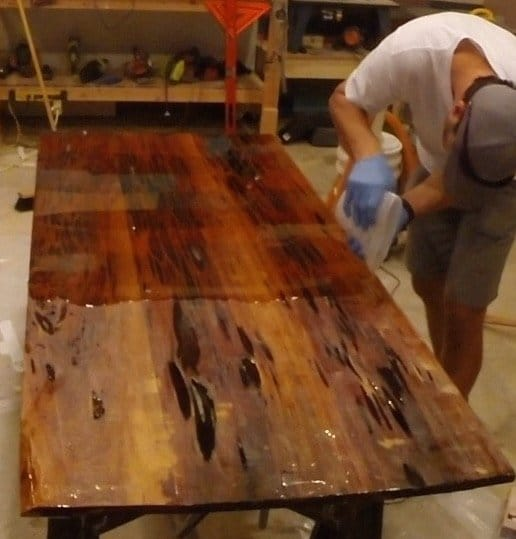 how to make an epoxy resin table with pecky sinker cypress flood coat