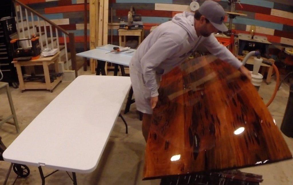 finish underside of epoxy table