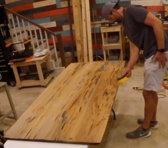 I Used The Belt Sander To Smooth The Underside Of The Pecky Sinker Cypress  Table And Used A Brush To Wipe Off The Dust. Yeah, I Know U2013 I Forgot To  Wear My ...