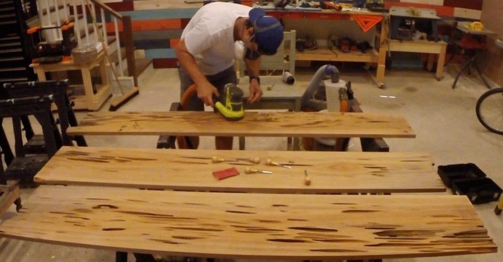 pecky sinker cypress sanding