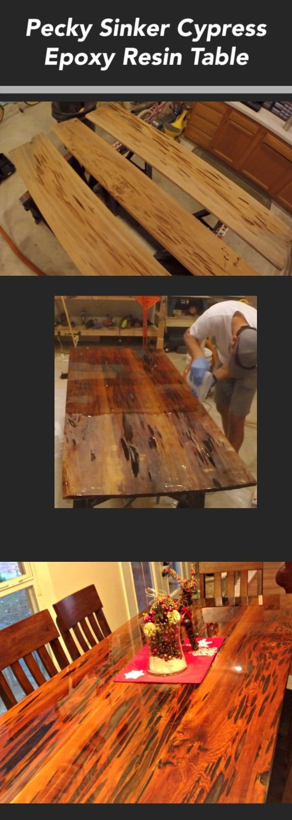 In this tutorial, I show you how to build an epoxy resin dining table using pecky sinker cypress wood.  Learn many resin tips and woodworking techniques that make this a DIY project for all skill levels.
