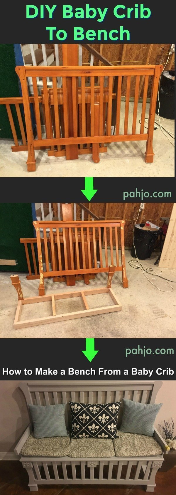 Learn How to Make a Bench out of a Baby Crib