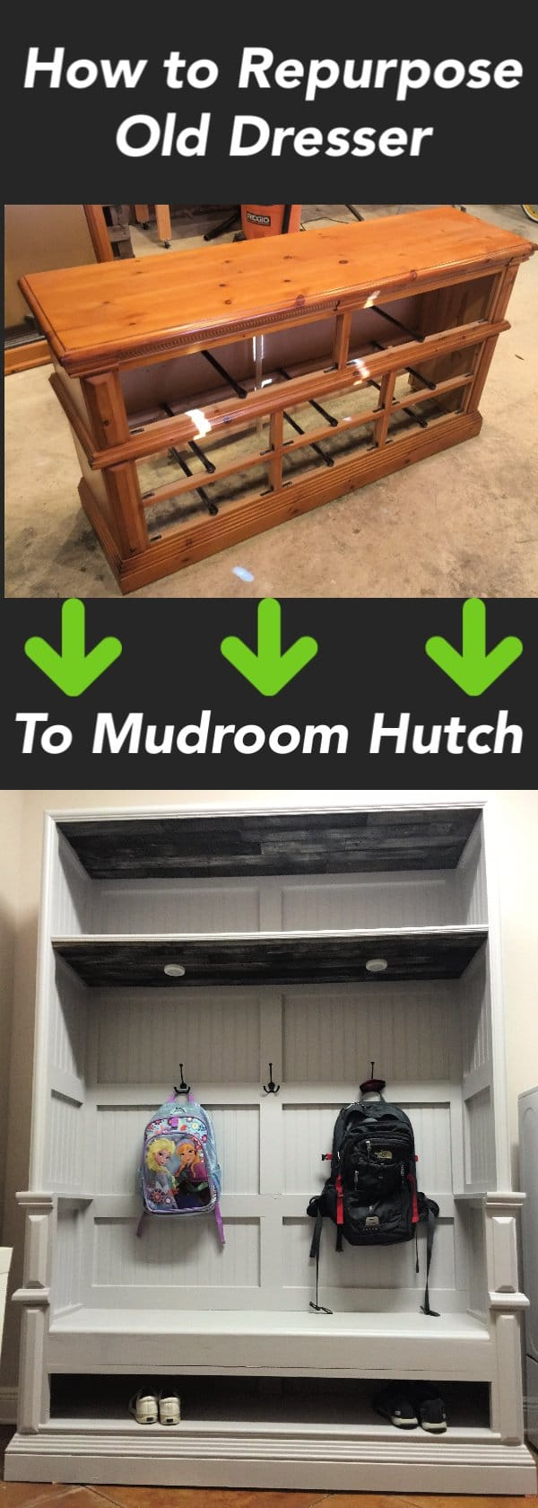 In this tutorial, I show you How to Transform Old Dresser into Hutch.  Also, FREE DIY plans are available for download.