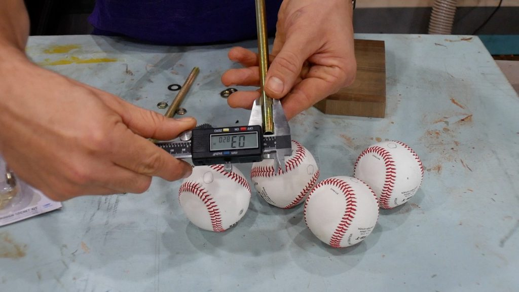 baseball lamp measure width of threaded rod with digital caliper
