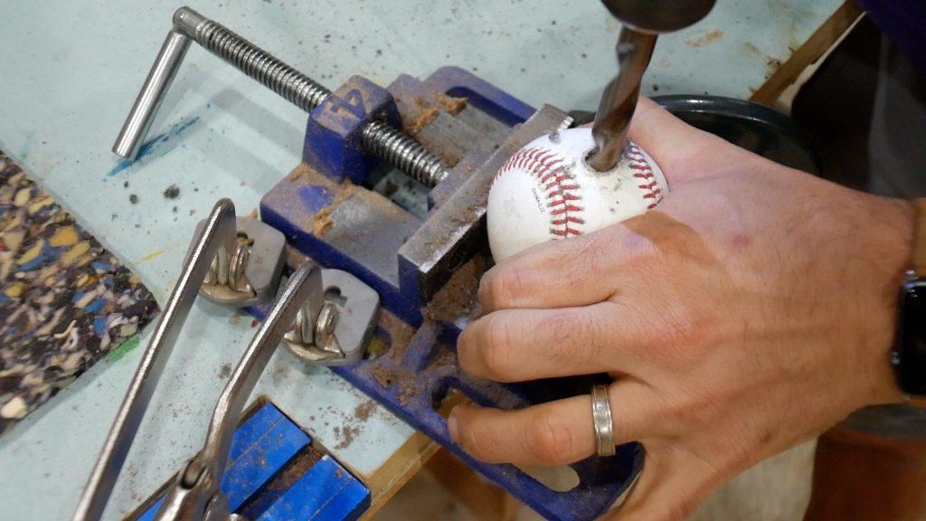 "baseball lamp drilling 1/2"" hole in baseball"