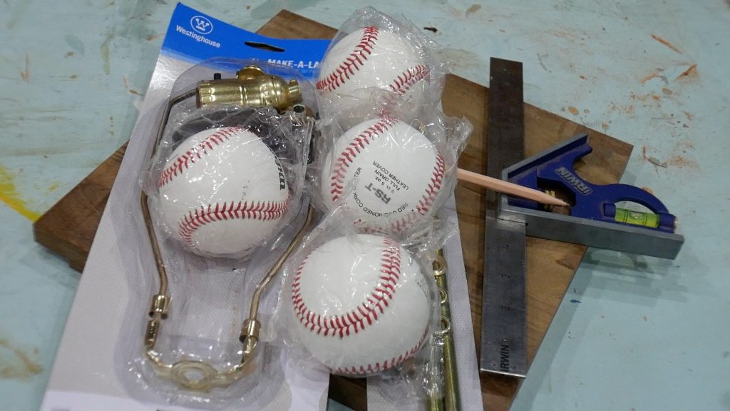 baseball lamp materials for project