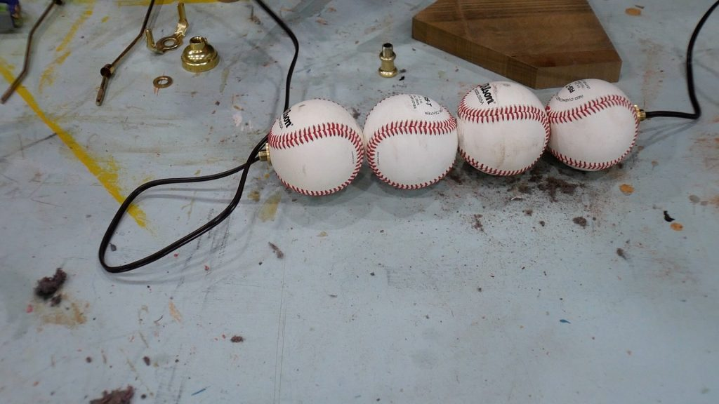 Baseball Lamp wire through threaded rod