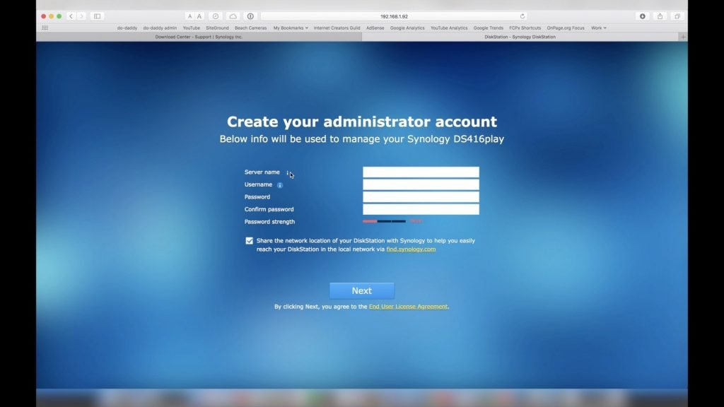 Synology DSM Create Administrator Login