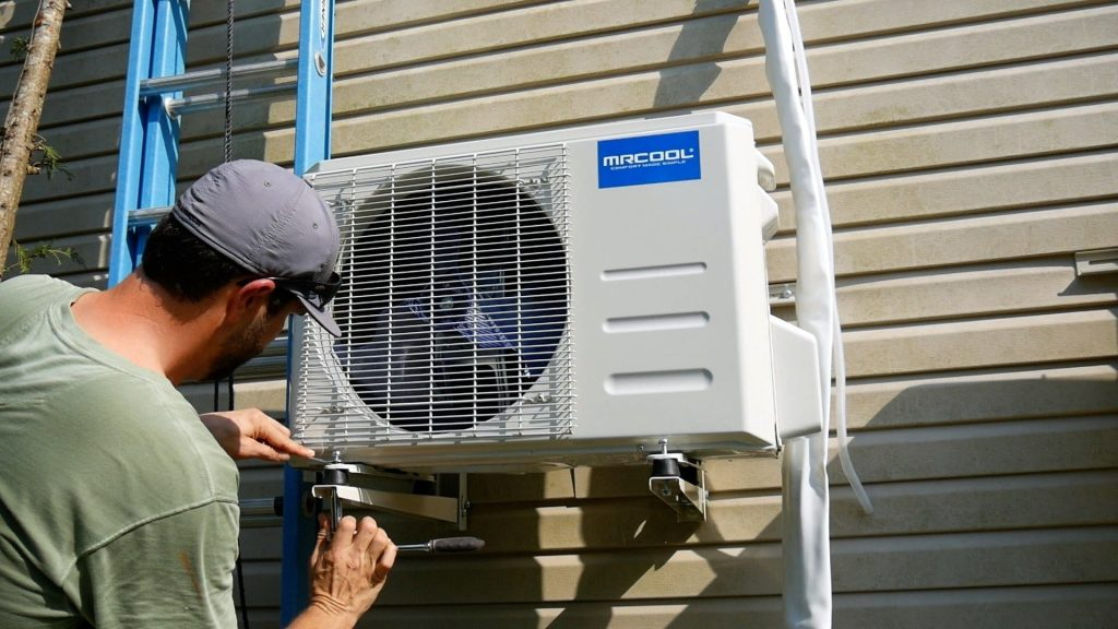 How to Install a Mini Split - Outside Condenser Unit secure footing