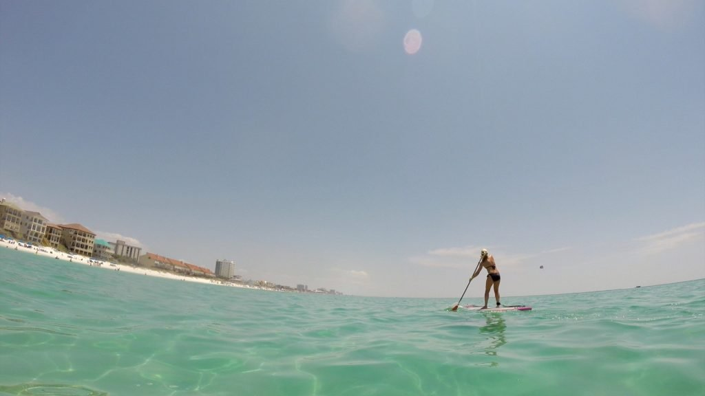 Paddle Boarding in Destin Florida - Stacey paddling