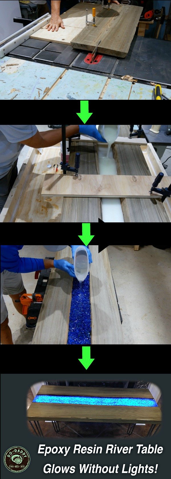 Learn How To Make An Epoxy Resin River Table That Glows In The Dark. This
