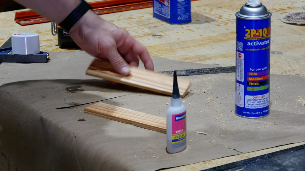 how to make a rustic table with epoxy resin - spray adhesive