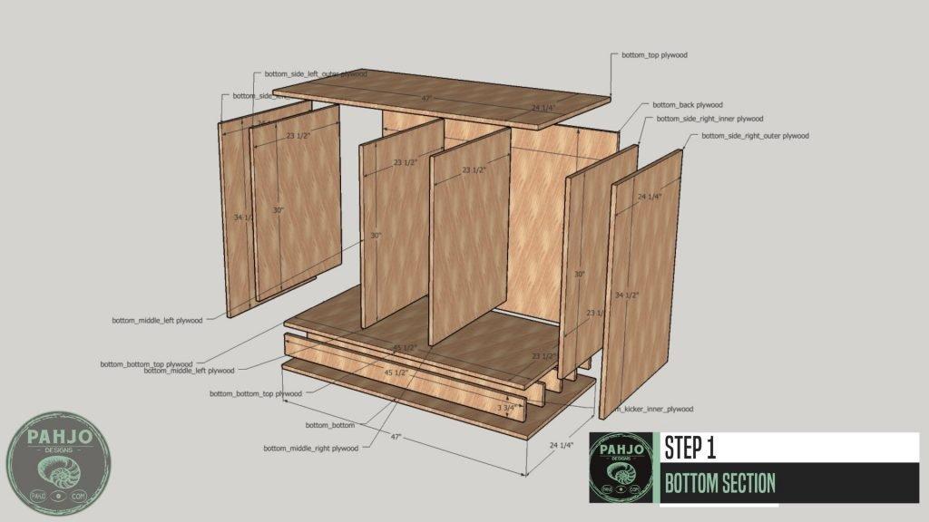 DIY Custom Built In Cabinets Bottom Section