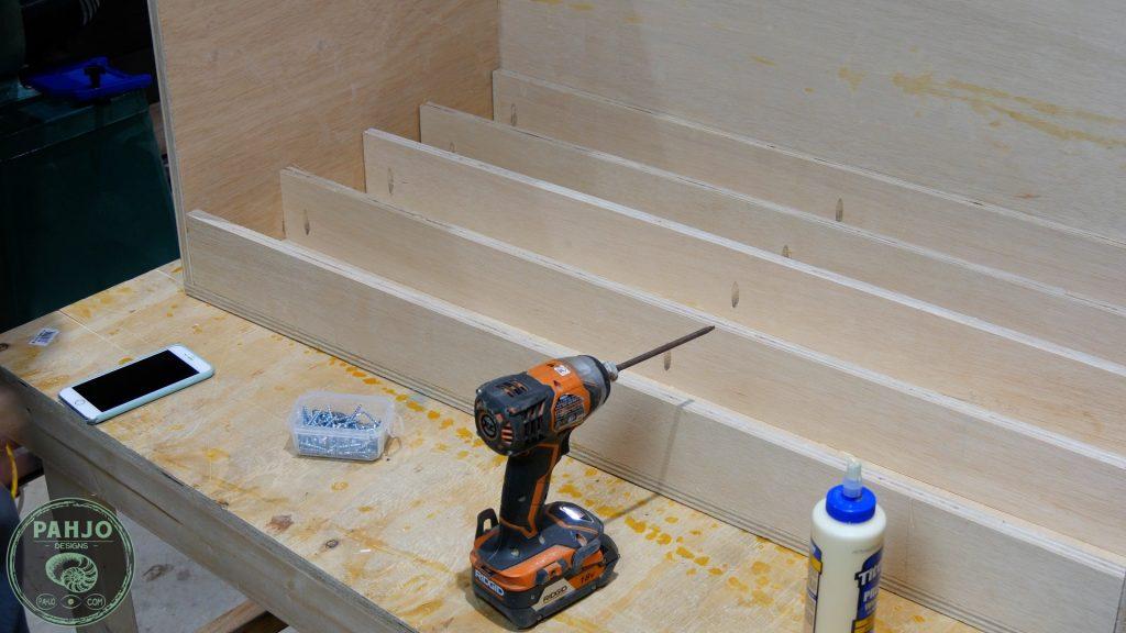 DIY Built in Cabinets floor joist