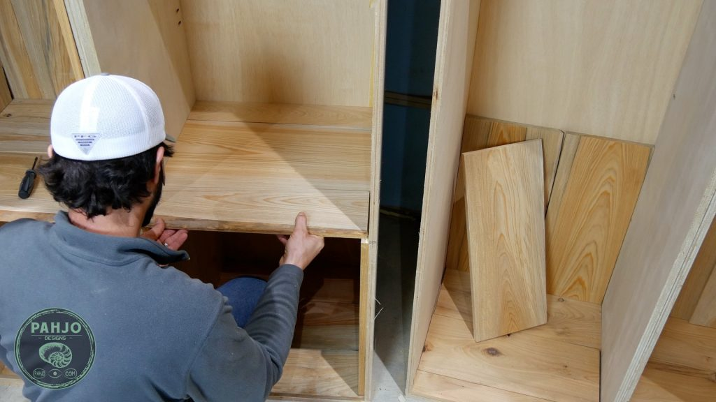 DIY Custom Built In Cabinets cypress middle shelf