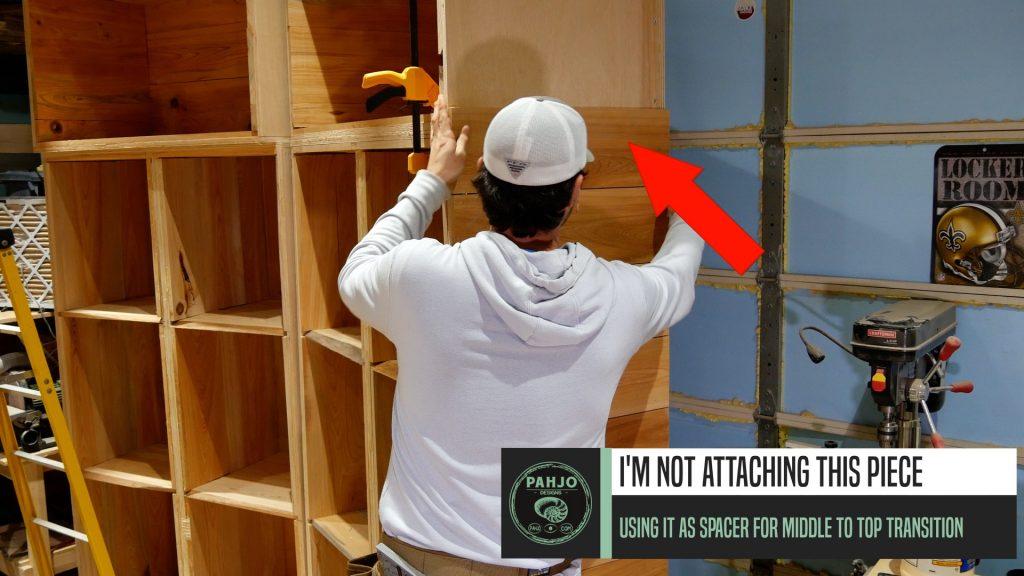 DIY Custom Built In Cabinets cypress shiplap transition