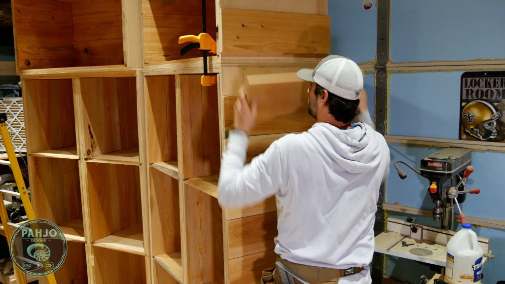 DIY Custom Built In Cabinets cypress shiplap transition save for later
