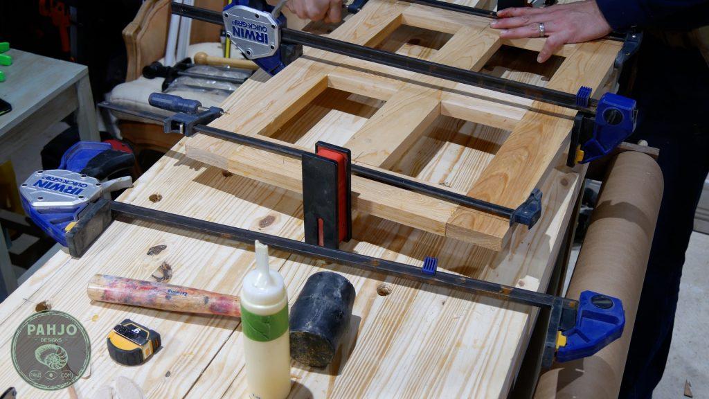 diy custom built in cabinet doors clamp
