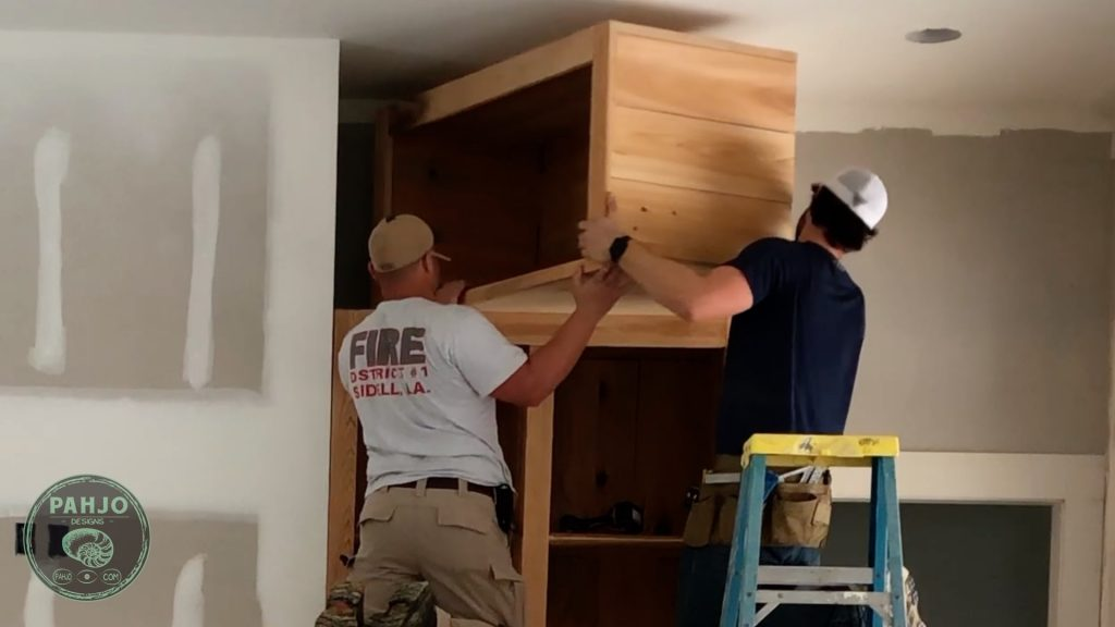 diy custom built in cabinets installation top section