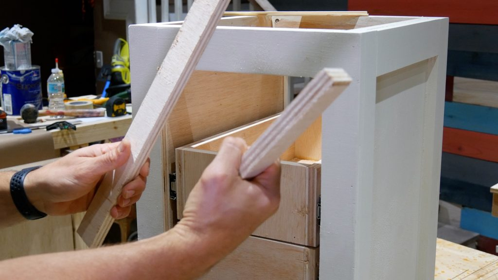DIY Base Cabinet with Drawers_Drawer slide spacer