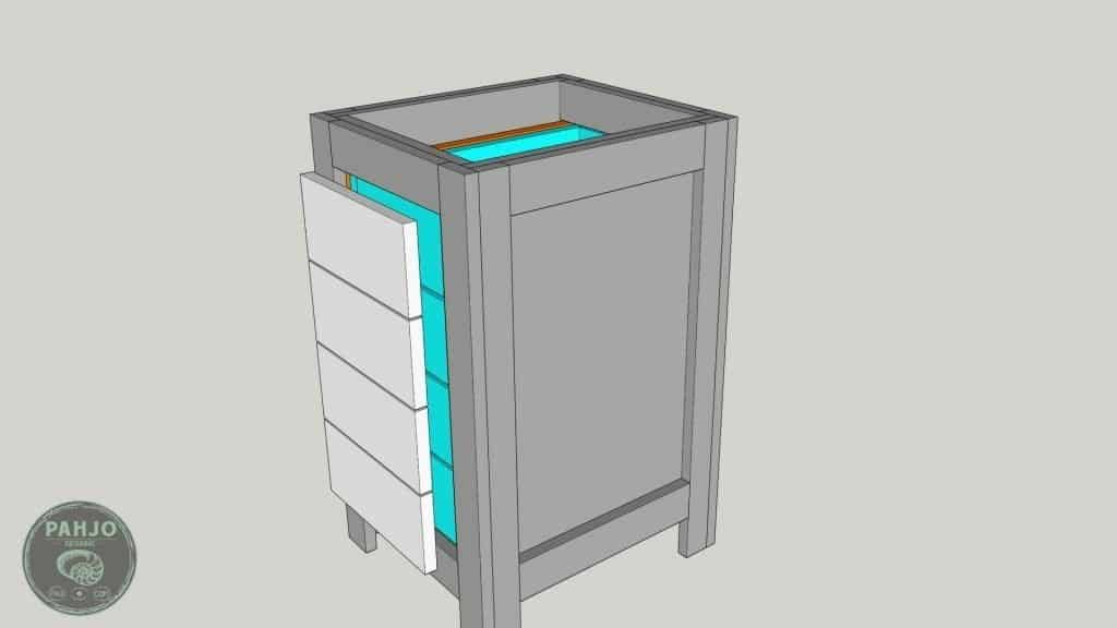 DIY Base Cabinet with Drawers_sketchup drawer face offset