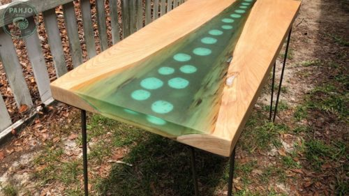 Live Edge Epoxy Resin Seashell Table for sale