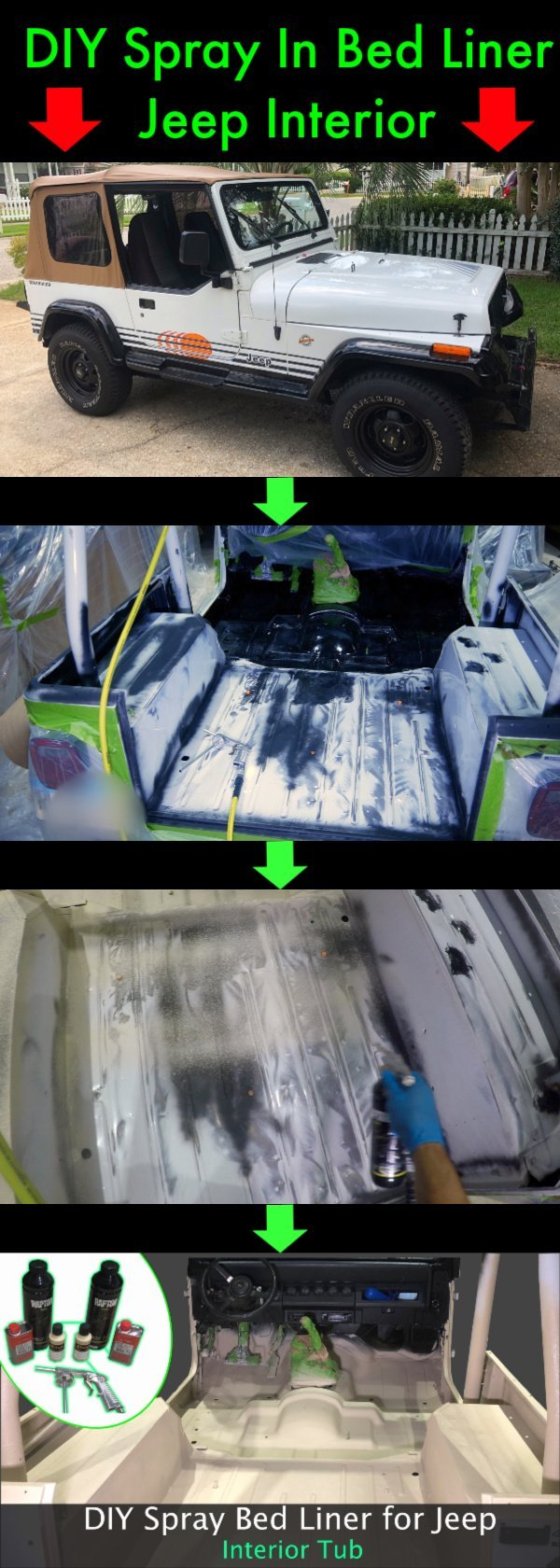In this DIY spray in bed liner tutorial, I show you how to spray bed liner in Jeep Wrangler interior tub. My 1992 Jeep Wrangler YJ Islander interior tub started to rust, so I sprayed the Raptor Liner Tintable Bed Liner Kit.  I also show you how to remove rust, reinforce the interior floor, replace Jeep interior bolts, and replace Jeep Interior carpet with a more durable floor that is visually appealing and easy to clean.