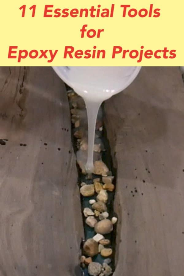 Learn about the 11 Best Epoxy Resin Application Tools.  Whether I build a resin and wood table or create resin art, the epoxy resin application tools I use help me produce the best projects possible.  Additionally, I show you the most efficient way to clean epoxy resin tools and to remain safe while working with epoxy resin.