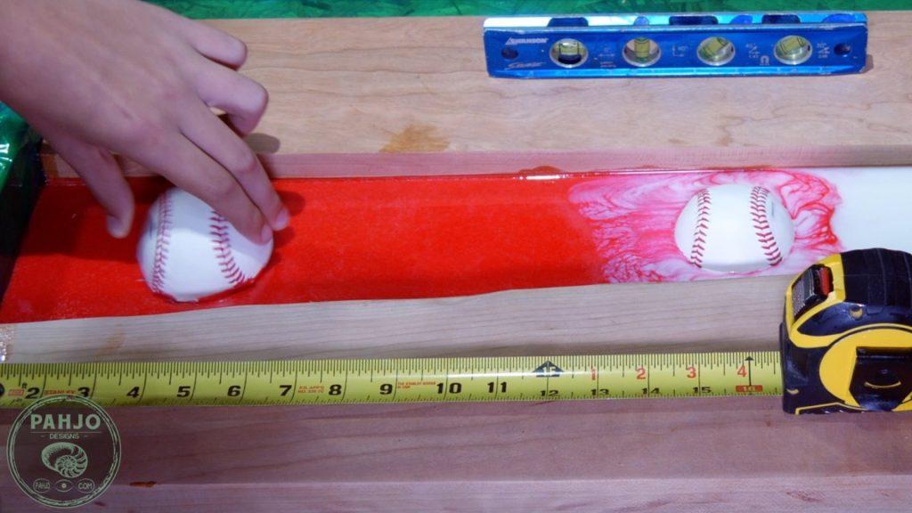 DIY Wood and Resin Wall Art - Baseball Storage Rack_baseball in resin 2