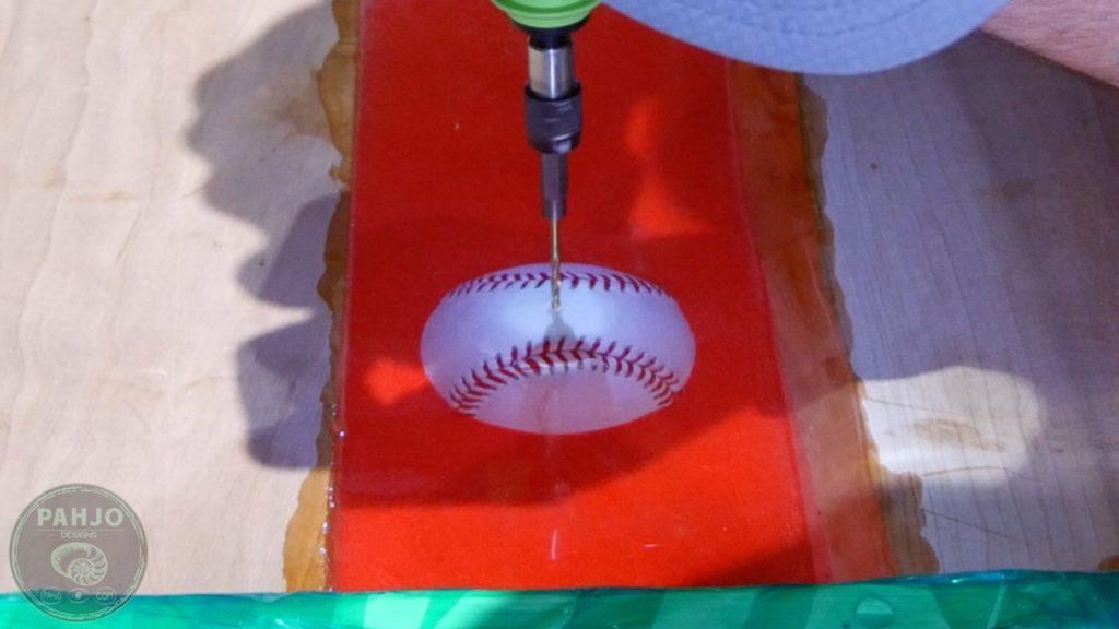 DIY Wood and Resin Wall Art - Baseball Storage Rack_Drill Resin