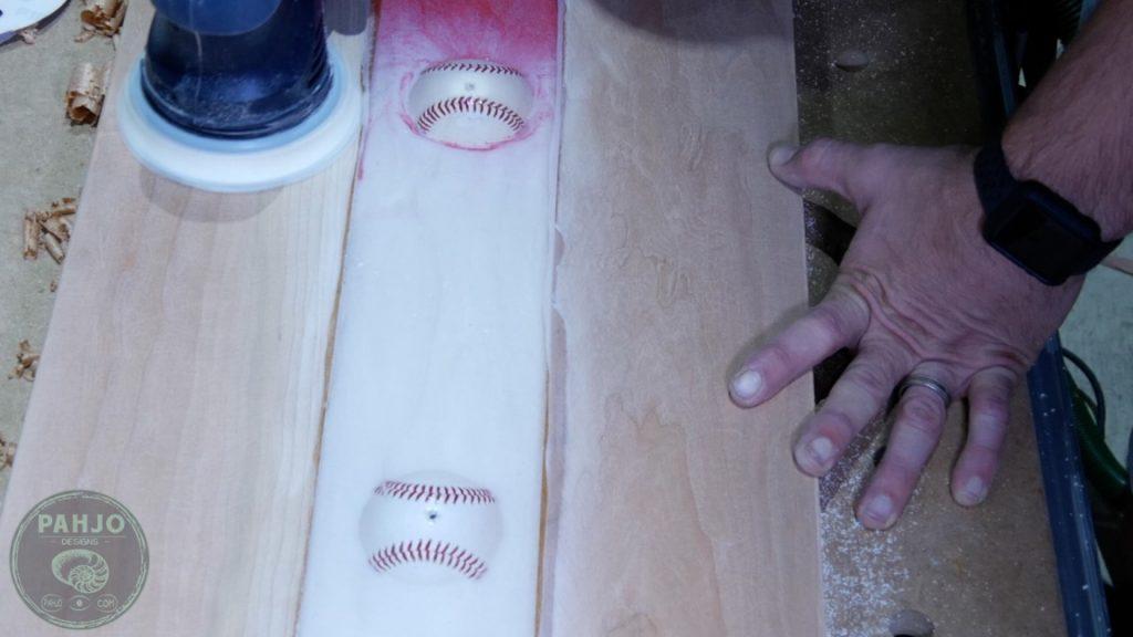 DIY Wood and Resin Wall Art - Baseball Storage Rack_320 Grit