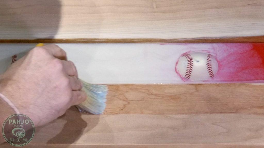DIY Wood and Resin Wall Art - Baseball Storage Rack_Apply Finish
