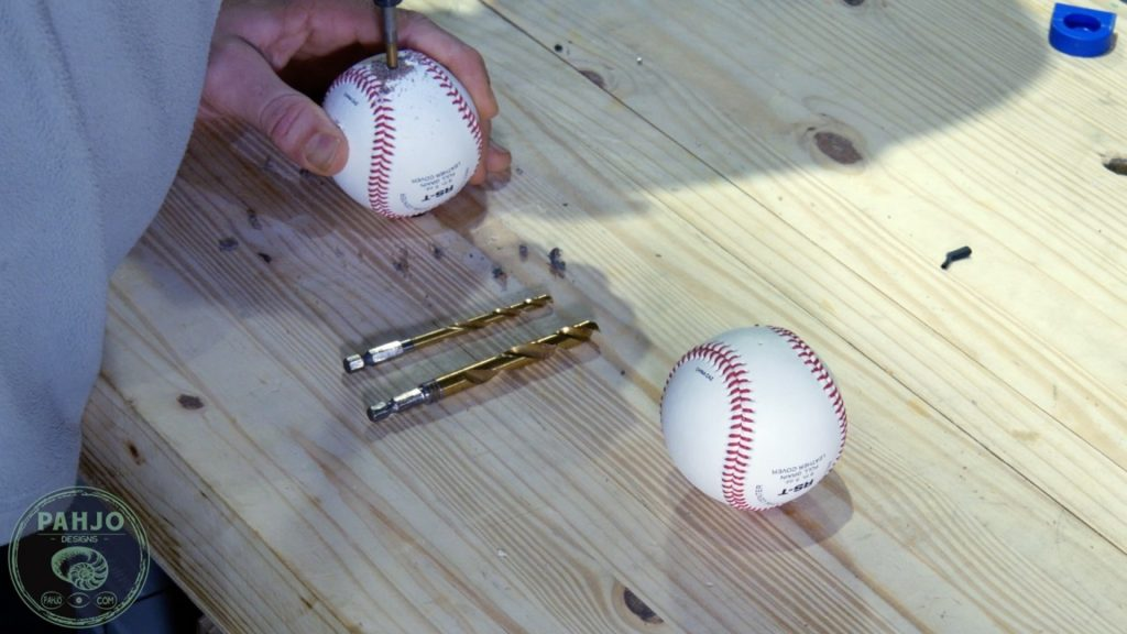 DIY Wood and Resin Wall Art - Baseball Storage Rack_Drill Hole in Baseball