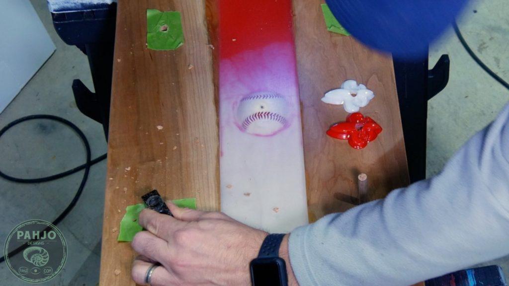 DIY Wood and Resin Wall Art - Baseball Storage Rack_Install hat rack