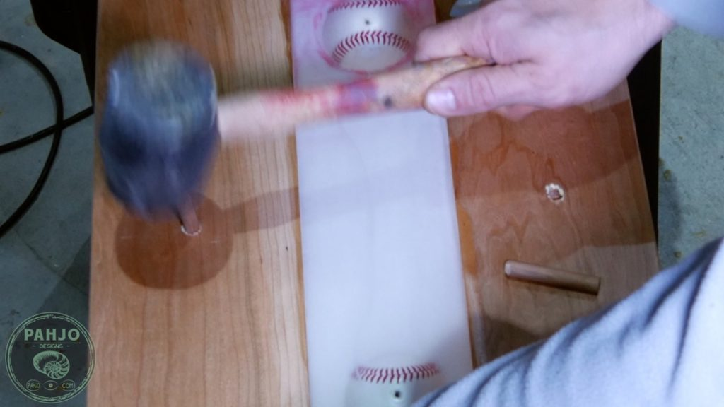 DIY Wood and Resin Wall Art - Baseball Storage Rack_dowels