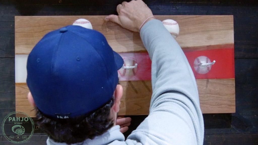 DIY Wood and Resin Wall Art - Baseball Storage Rack_hang on French cleat on wall