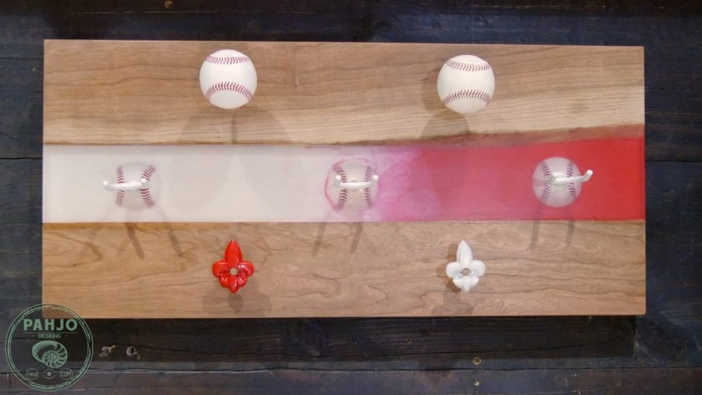 DIY Wood and Resin Wall Art - Baseball Storage Rack_Final Picture