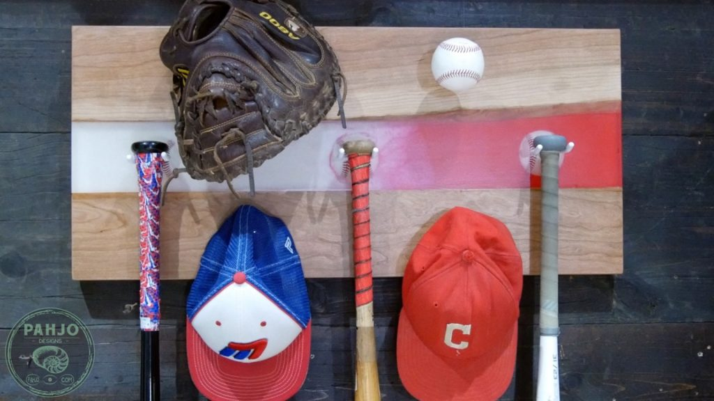 DIY Wood and Resin Wall Art - Baseball Storage Rack_Final Picture with Baseball Gear