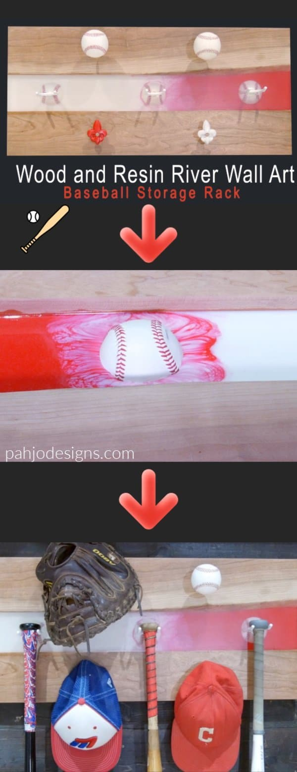In this video tutorial, learn how to make wood and resin river wall art that is used as a baseball storage rack.  This baseball bat storage rack display mounts on the wall and holds 3 baseball bats, 2 baseball gloves, and 3 baseball hats.  Learn how to mix opaque pigment with resin, embed objects in resin, and many more tips & techniques.  This wall mounted wood and resin river art and baseball display rack is the perfect gift for the baseball player in your family.