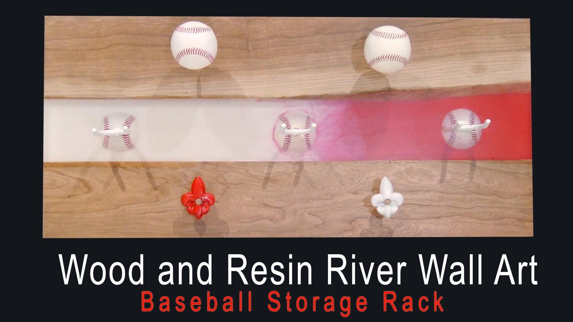 Wood and Resin River Wall Art - Baseball Storage Rack