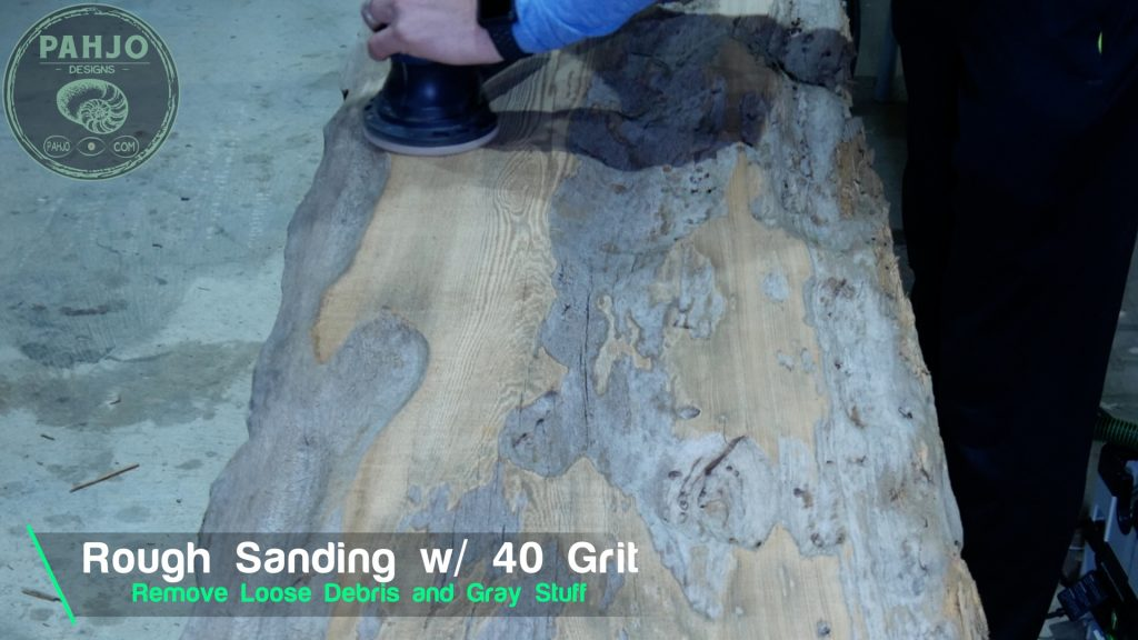 Epoxy Bar Top using Reclaimed Wood_rough sanding