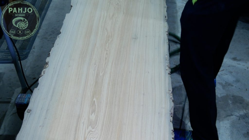 Epoxy Bar Top using Reclaimed Wood rough sanding