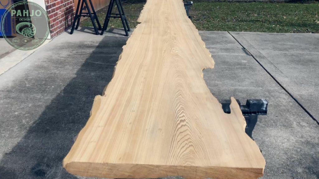 Epoxy Bar Top using Reclaimed Wood Sinker cypress slab
