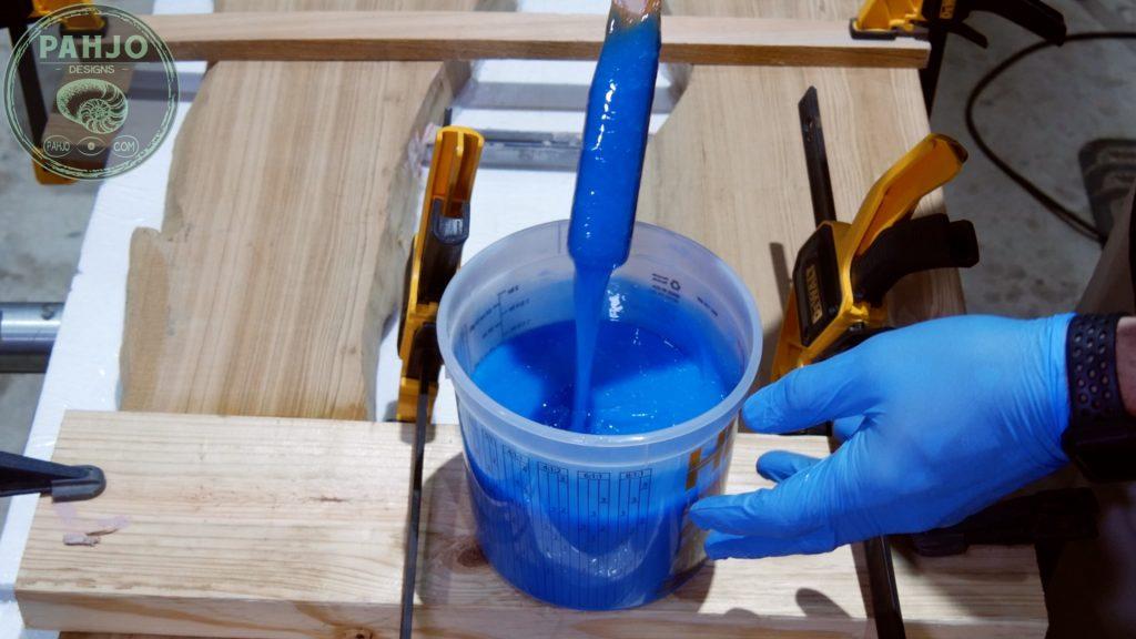Epoxy Bar Top using Reclaimed Wood resin glow powder