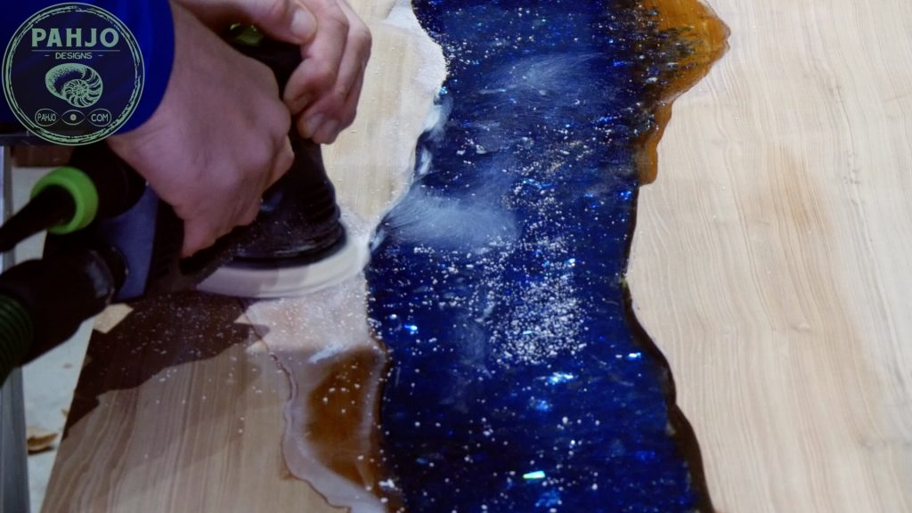 Epoxy Bar Top using Reclaimed Wood sand resin