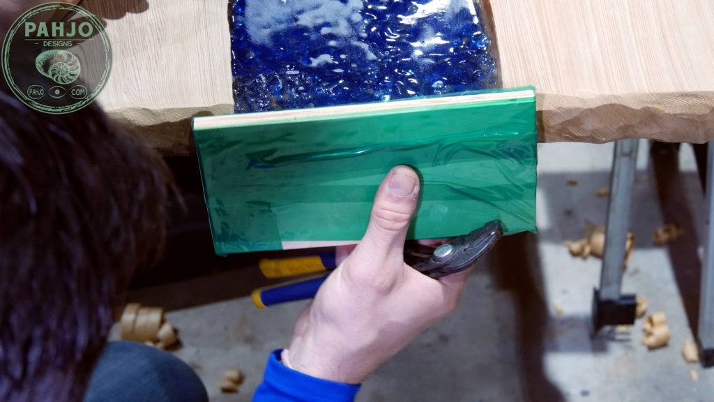 Epoxy Bar Top using Reclaimed Wood epoxy pour